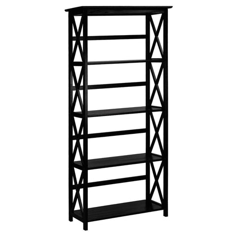 Image of Tall 5-Tier Bookcase in Black Wood Finish