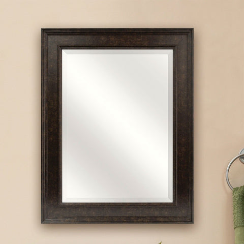 Image of Beveled Rectangular Bathroom Vanity Mirror with Bronze Finish Frame