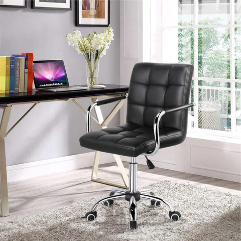 Modern Mid-Back Black Faux Leather Office Chair with Removable Arms