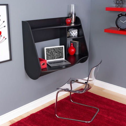 Modern Wall Mounted Laptop Computer Desk in Black Wood Finish