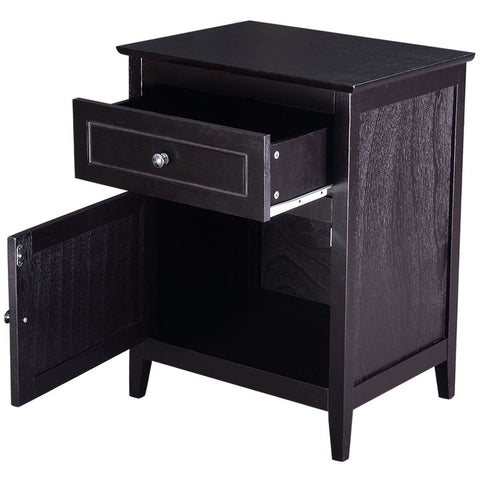 Image of Espresso Wood 1-Drawer End Table Cabinet Nightstand