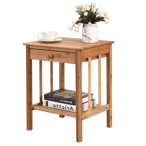 Classic Light Brown Wood 1-Drawer End Table Nightstand Side Table
