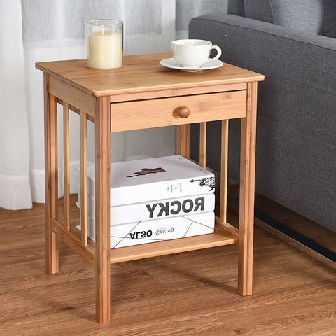 Image of Classic Light Brown Wood 1-Drawer End Table Nightstand Side Table