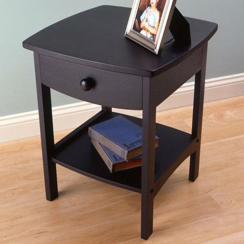 Image of Black 1-Drawer Bedroom Nightstand Contemporary End Table