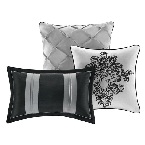 Image of Queen size 7-Piece Damask Comforter Set in Black White Grey