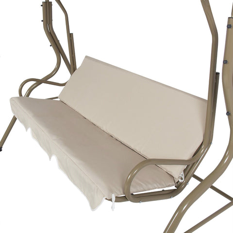 Outdoor Porch Swing Patio Deck Glider with Canopy in Beige