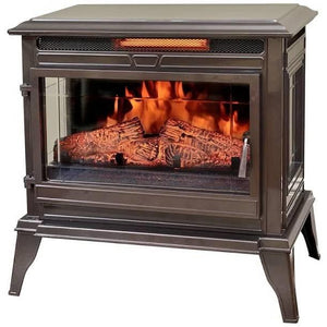 Bronze Portable Electric Fireplace Stove Infrared Heater