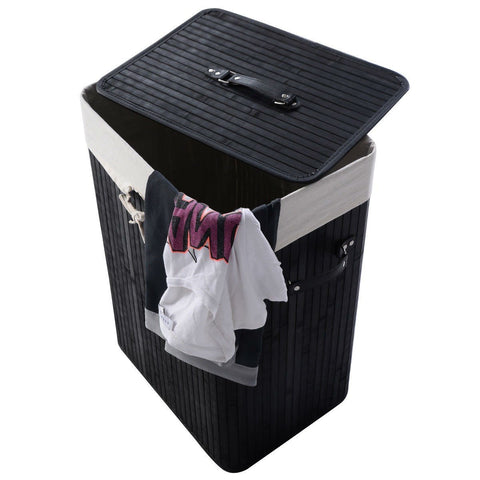 Black Bamboo Laundry Hamper with Removable Liner