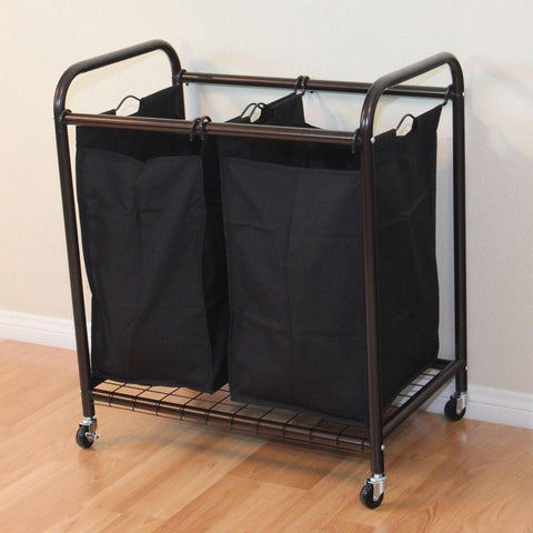 Image of Bronze Laundry Hamper Cart with 2 Black Sorter Bags