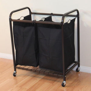Bronze Laundry Hamper Cart with 2 Black Sorter Bags