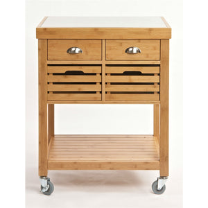 Stainless Steel Top Bamboo Wood Kitchen Cart with Casters
