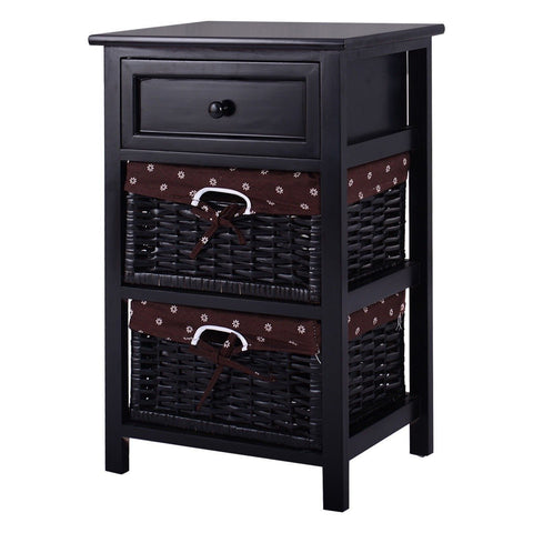 Black Wood 1-Drawer End Table Nightstand with 2 Storage Baskets