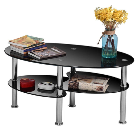 Image of Modern Black Tempered Glass Coffee Table with Bottom Shelf