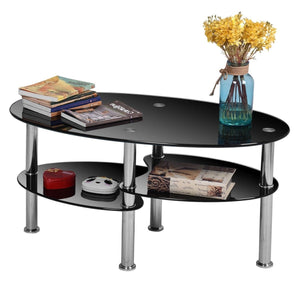 Modern Black Tempered Glass Coffee Table with Bottom Shelf