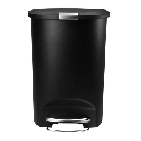 Image of Black 13-Gallon Kitchen Trash Can with Foot Pedal Step Lid