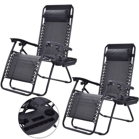 Image of Set of 2 Black Folding Outdoor Zero Gravity Lounge Chair Recliner