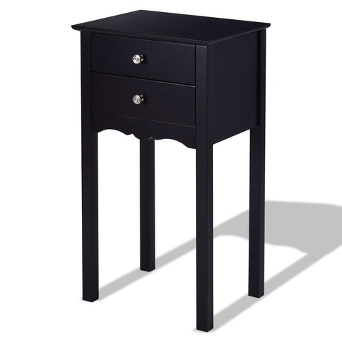 Image of Elegant 2-Drawer End Table Nightstand Side Table in Black Wood Finish