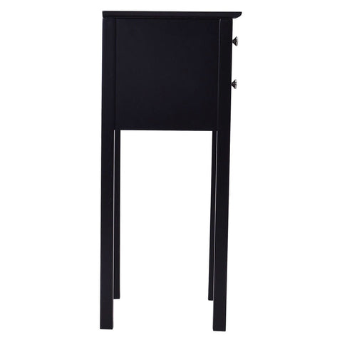 Elegant 2-Drawer End Table Nightstand Side Table in Black Wood Finish