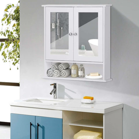 Image of White Bathroom Wall Medicine Cabinet with Mirror and Open Shelf