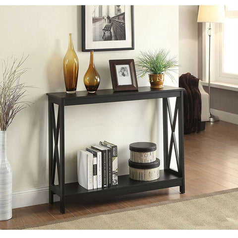 Image of Black Wood Console Sofa Table with Bottom Storage Shelf