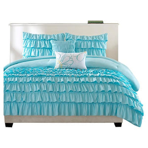 Light Blue Full/Queen 5-Piece Comforter Set w/ 2 Shams & 2 Pillows