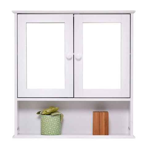 Simple Bathroom Mirror Wall Cabinet in White Wood Finish 23 x 22 inch