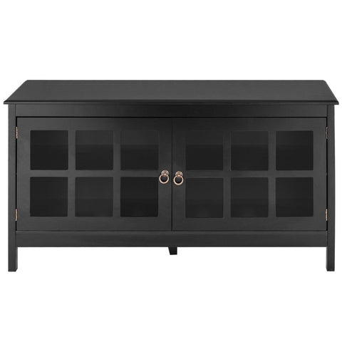 Black Wood TV Stand with Glass Panel Doors for up to 50-inch TV