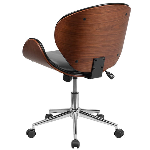 Image of Mid-Back Walnut / Black Faux Leather Office Chair with Curved Bentwood Seat