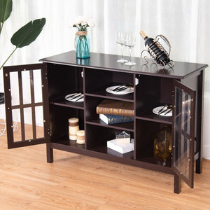 Brown Wood 43-inch TV Stand Storage Cabinet Console Table