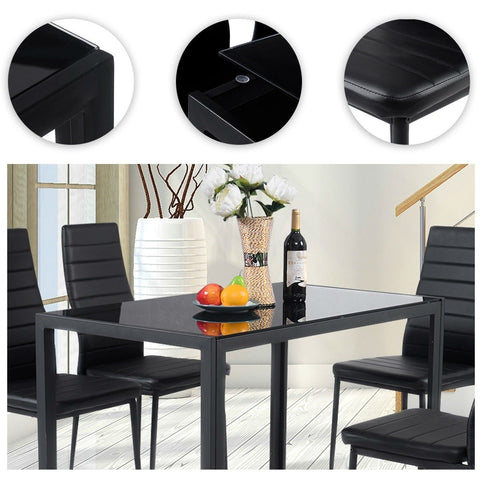 5-Piece Black Glass Tabletop Dining Set With Soft Leather Chairs
