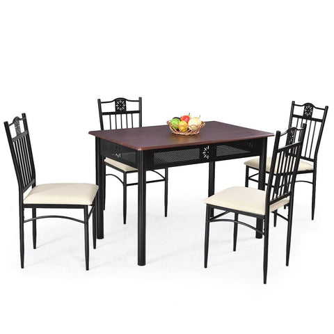 Image of 5-Piece Black Brown Dining Set Wood Metal Table Chairs with Cushions