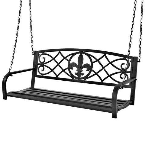 Farmhouse Black Sturdy 2 Seat Porch Swing Bench Scroll Accents