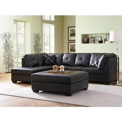 Black Bonded Leather Sectional Sofa with Left Side Chaise