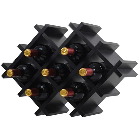 Image of Black 5 Piece Wall Mounted Wine Rack Set with Storage Shelves