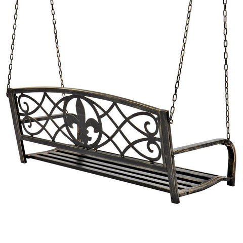 Farm Home Bronze Sturdy 2 Seat Porch Swing Bench Scroll Accents
