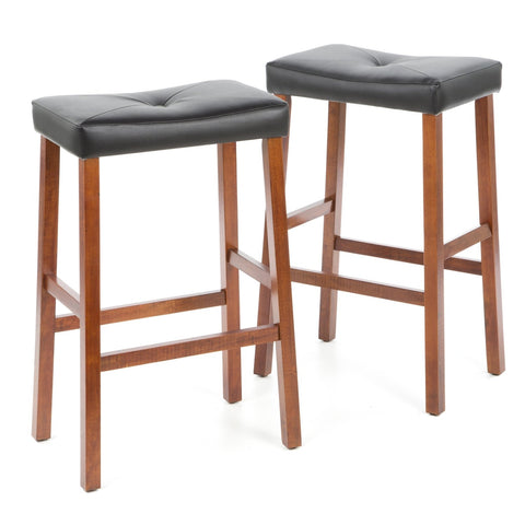 Image of Set of 2 - Upholstered Faux Leather Saddle Seat Barstool in Cherry