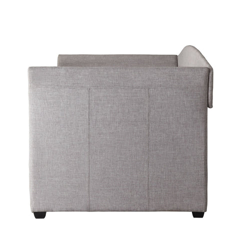 Twin size Grey Upholstered Daybed with Roll-out Trundle Guest Bed