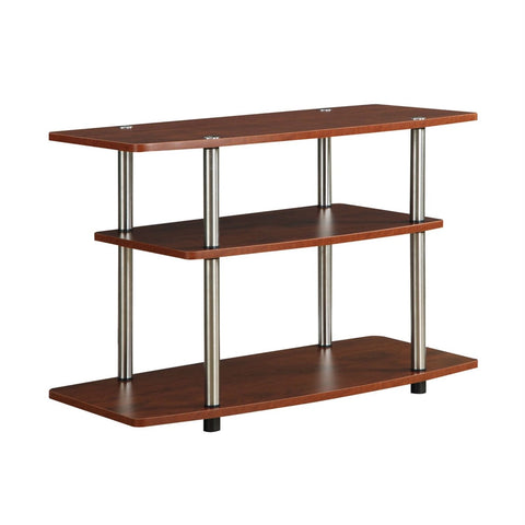 Modern Wood and Metal TV Stand in Cherry Brown Finish