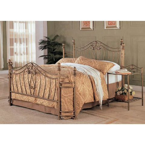 Image of Queen size Metal Bed with Headboard and Footboard in Antique Gold Finish