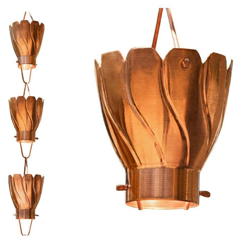 Image of Copper 8.5 Ft Floral Petal Cups Rain Chain