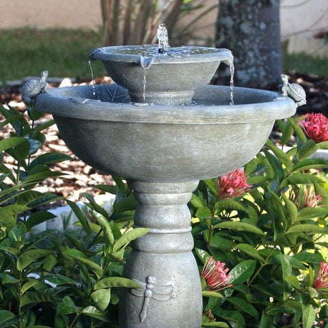 Image of Weathered Stone Finish Outdoor Resin Solar Fountain Bird Bath