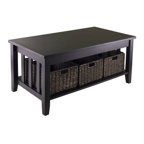 Image of Espresso 2 Tier Coffee Occasional Table with 3 Storage Baskets