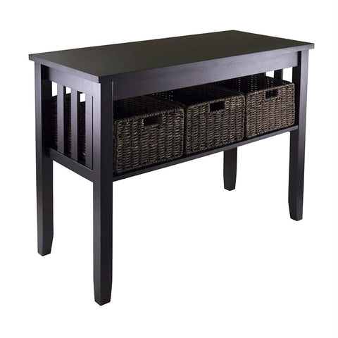 Image of Espresso 2 Tier Entryway Hall Console Table with 3 Storage Baskets