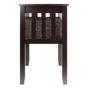 Espresso 2 Tier Entryway Hall Console Table with 3 Storage Baskets