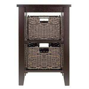 Espresso 3 Tier Bookcase Shelf Accent Table with 2 Small Storage Baskets
