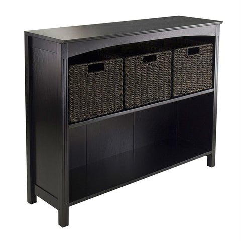Image of Espresso 3 Tier Bookcase Shelf Dresser with 3 Storage Baskets