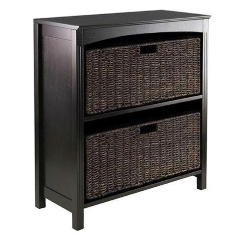 Espresso 3 Tier Bookcase Shelf with 2 Large Storage Baskets