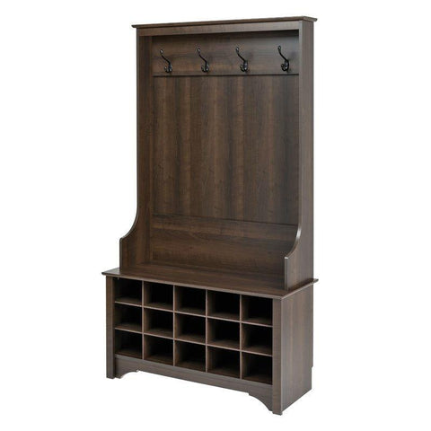 Image of Dark Brown Entryway Hall Tree Shoe Cubbie Coat Rack