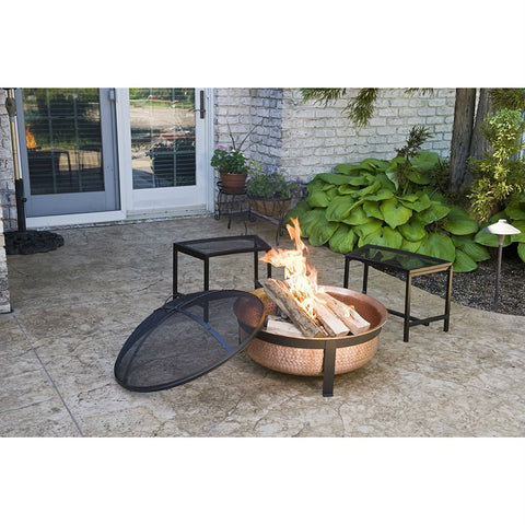Image of Solid 100-Percent Copper Fire Pit with Stand Screen and Cover