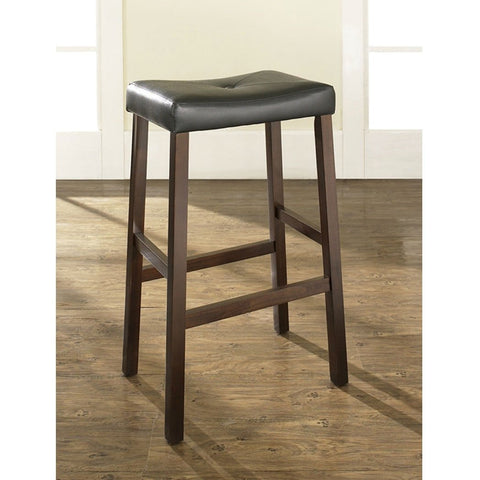 Image of Set of 2 - Upholstered Faux Leather Saddle Seat Barstool in Mahogany